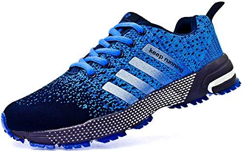 JiYe Athletic Shoes Men's Women's Outdoor Tennis Jogging Walking Fashion Sneaker,Running Shoes,Blue,9US-Women/8US-Men