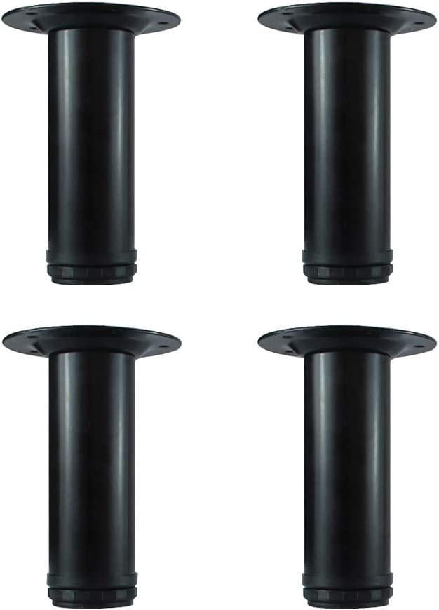 QLLY 6 inch Adjustable Metal Furniture Legs, Replacement Leg for Sofa Couch Chair Ottoman Cabinet, Set of 4 (Black)