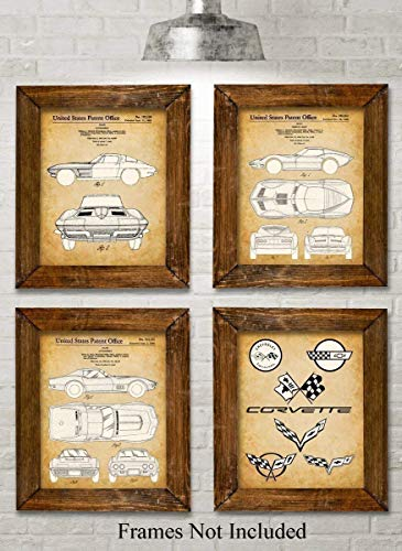 (Original Corvette Patent Art Prints - Set of Four Photos (8x10) Unframed - Makes a Great Gift Under $20 for Corvette Owners)