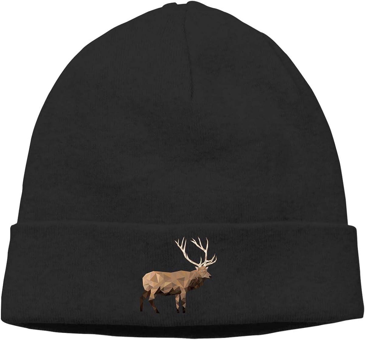 Riokk az Deer Geometry Skull Cap Beanie for Mens Black