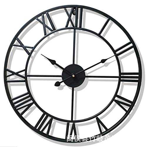 (Fengfeng Wall Clock,Bracket Clock,European Retro Style Clock,Nostalgic Wrought Iron,Home Decoration Living Bedroom Office Décor (Without Battery) (Color : Black, Size : 60cm))