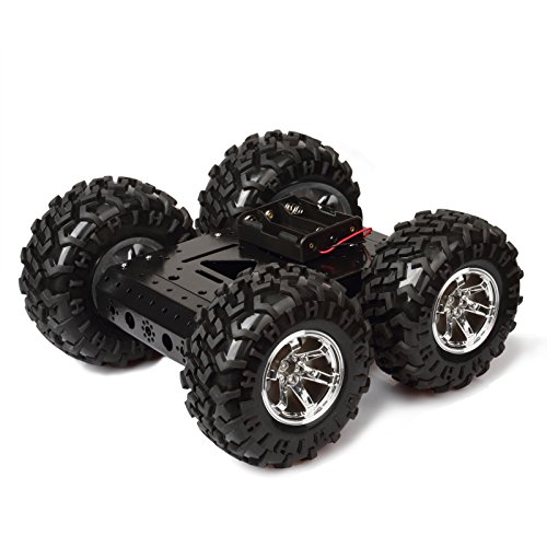 MOUNTAIN_ARK High Power 4WD Smart Car Chassis Kit  iron Chassis + 4pcs DC 12V Motors + Non inflatable rubber tire for Arduino Raspberry Pi DIY Obstacle Avoidance Smart Car 10.6x10.6x4.7inch