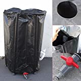 66 Gallon Collapsible Rain Water Barrel Collector Storage Spout Container Tank