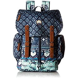 Roxy Women's Free for Sun Printed Backpack, Dress Blue Ax Hippie Hop Border