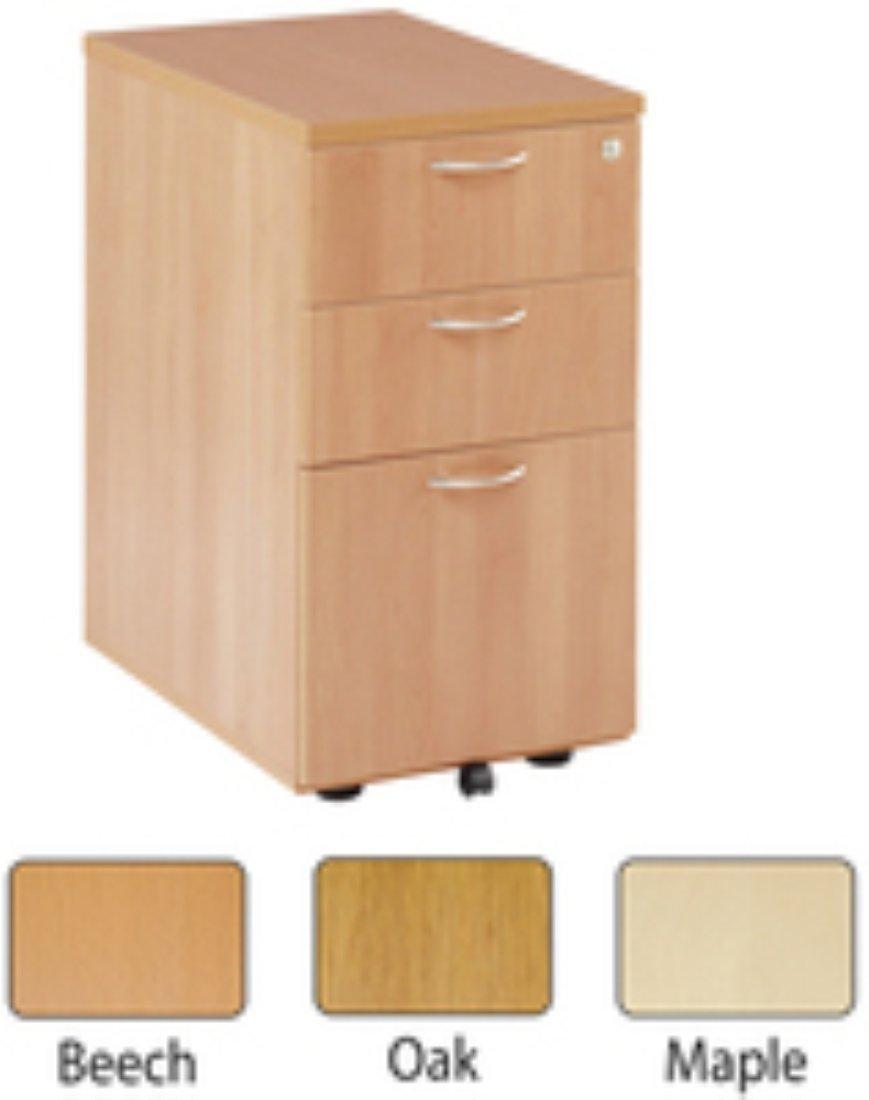 Jemini 3-Drawer Under-Desk Pedestal Maple KF72089