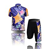 CH&Q Kids Boys Girls'Breathable Cycling Jersey Suits/Set Road Biking Clothing Set (Short Sleeve Top+3D Padded Shorts), Ocean, 10-11Years