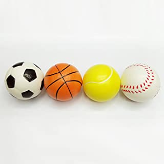 Lanlan 12 Pcs 6.3cm Mini Stress Balls Soft PU Football Basketball Tennis Baseball Toy for Sport Training Practice