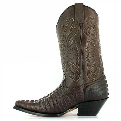 Meuleuses Caroline Cowboy Western Bottes en cuir marron genou haute Bottes