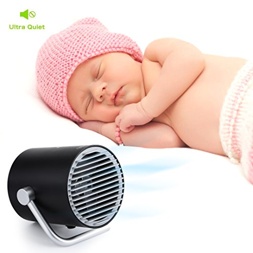 USB Desk Fan, Accering Portable Mini Desktop Small Fan with Touch Control, 5V USB Powered, Personal Table Fans Quiet Cooling for Home, Office, Dorm, Black (4 inch) by Accering (Image #3)