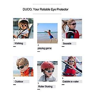 3cc2fc3d68 DUCO K006 - Gafas de sol polarizadas para niños y niñas   Lentes de ...