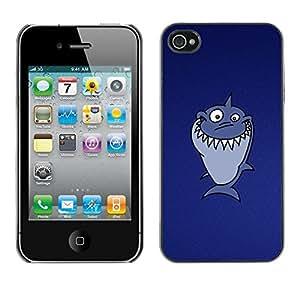LECELL -- Funda protectora / Cubierta / Piel For Apple iPhone 4 / 4S -- Funny Troll Lol Shark --