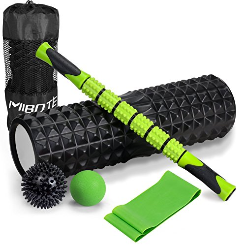 MIBOTE Foam Roller, 6-In-1 18″ Massage Roller Kit with Long Muscle Roller Stick, 2 Massage Balls and Resistance Exercise Band For Self Massage Yoga Crossfit Myofascial Release Physical Therapy