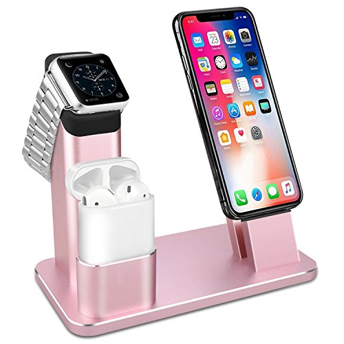Apple Watch Stand,GUANCHI Aluminum 4 in 1 Apple Watch iPhone AirPods Charger Stand Dock Station for Apple Watch 3/2/1/ AirPods/iPhone X/8/8Plus/7 Plus /6S /6S Plus/iPad- Rose Gold