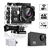 #7: WeyTy WT100 Action Camera, 4K Ultra HD Waterproof Camcorder 16MP 170° Degree Wide Angle Lens Wi-Fi Control Sport DV Including 2 Rechargeable Batteries(1350mAh) and Full Accessories Kit, Black
