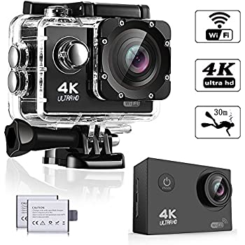 WeyTy EK700 Action Camera, 4K Ultra HD Waterproof Camcorder 16MP 170° Degree Wide Angle Lens Wi-Fi Control Sport DV Including 2 Rechargeable Batteries(1350mAh) and Full Accessories Kit, Black