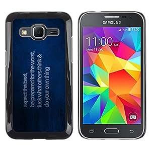 TaiTech / Prima Delgada SLIM Casa Carcasa Funda Case Bandera Cover Armor Shell PC / Aliminium - Esperamos lo mejor - Samsung Galaxy Core Prime