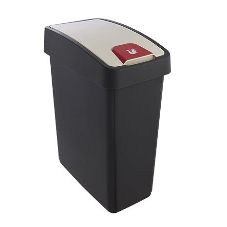 Keeeper Cubo de la Basura Premium con Tapa Abatible, Tacto suave, 25 l, Magne, Gris grafito