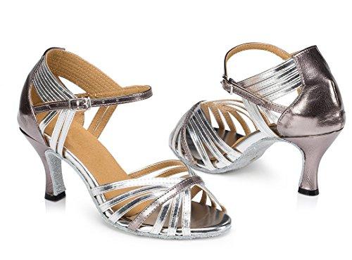 F&M Fashion ,  Damen Tanzschuhe , Silber - 7.5cm Silver - Größe: 35