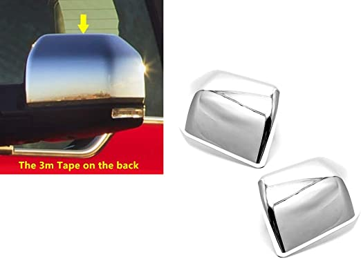 Pair Chrome Half Mirror Cap Cover ABS Upper Top Overlays for 15-19 Ford F150