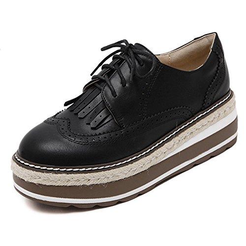 Cybling Mode Casual Lacets Mi-talon Épais Semelle Plateforme Oxford Chaussures Pour Femmes Noir