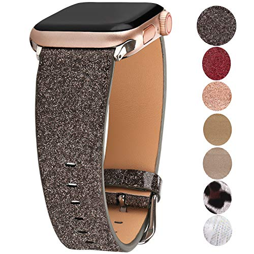 Greaciary Sparkle Leather Band Compatible with Apple Watch 42mm/44mm,Extreme Deluxe Shiny Bling Glitter Wristband Compatible with Apple Watch Series4/3/2/1,Sports & Edition,Shiny Black