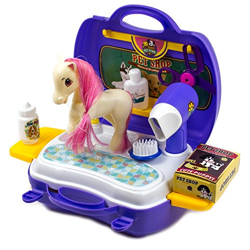 (Pet Pony Learning Carrier Toy - Horse Family 16 Pcs)