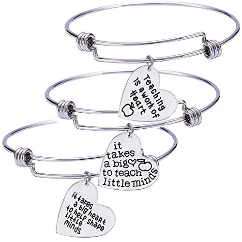 (Nzztont Pack of 3 Teacher Bangles Gifts for Teacher Open School Gifts for Teachers Thank You Bangle Bracelets (Style)