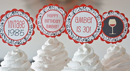 12 - Red Black Damask Scroll Martini Cocktail Over the Hill Chevron 21, 30, 40, 50, 60 Birthday Cupcake Toppers - Party Packages, Tags, Banners, Door Signs ()