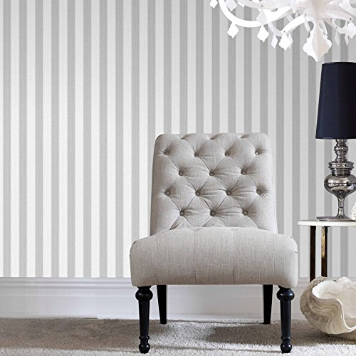 Graham & Brown 20-523 1 Fabric Collection Ticking Stripe Wallpaper, Soft Grey