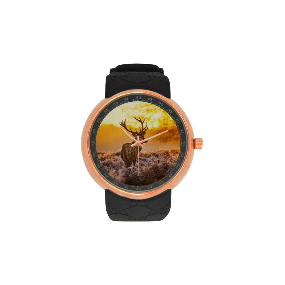 Novelty Gift Deer In Morning Sun Men's Rose Gold Plated Resin Strap Watch