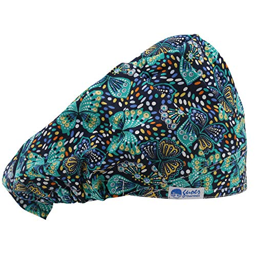 GUOER Scrub Hat Bouffant Scrub Cap One Size Multi Color (Green)