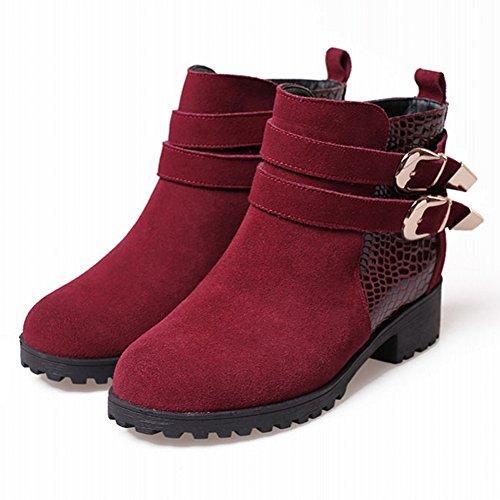 Minivog Monkstraps Pull Tab Mujeres Treaded Block Heel Botines De Invierno Wine Red