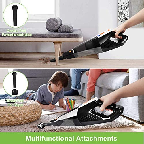 Meiyou Handheld-Vacuum-Cleaner Rechargeable-Vac-Cordless Portable: Cordless Vacuum Cleaner with 9KPA Strong Suction Powered by means of Li-ion Battery,for Pet Hair, Home and Car Cleaning