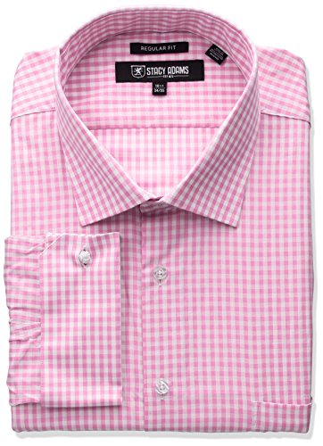 Stacy Adams Men's Big and Tall Gingham Check Dress Shirt, Pink, 18.5