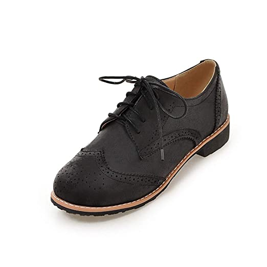 fbc023d1147 Amazon.com  Hecater Pu Leather Womens Wingtips Perforated Flat Brogues  Vintage Lace up Oxford Shoes  Clothing