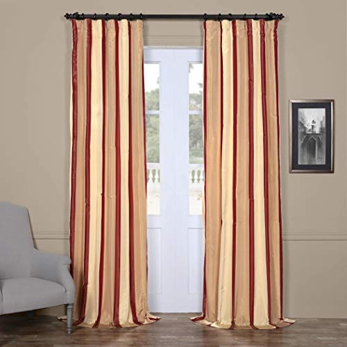 (1 Piece Cream Burgundy Rugby Stripes Faux Silk Taffeta Window Curtain 120 Inches Single Panel, Window Treatment Striped Vertical Lines Energy Efficient Contemporary Classic Rod Pocket, Silk Polyester)