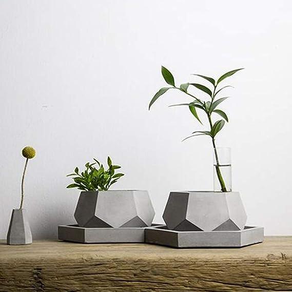 JingHai Geometría Molde de Silicona para Maceta de Concreto Artesanía A Mano Herramienta de Decoración del Hogar Molde de Cemento Molde: Amazon.es: Hogar