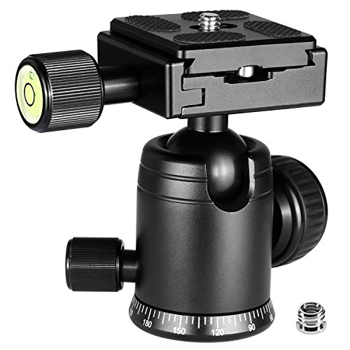 Crazefoto Exquisite CNC Shaped Camera Tripod Ball Head with 1/4 Arca Swiss Quick Fast Plate Includes Bubble Level, Max Loading 17.6lbs Ballhead for Tripod,Monopod,Slider,DSLR Camera,Camcorder
