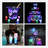 Yulink Ice Cube Lights Multicolor Water Submersible LED Liquid Sensor Light for Wedding Party Bar Club Champagne Tower Holiday Decoration [12 Pcs]
