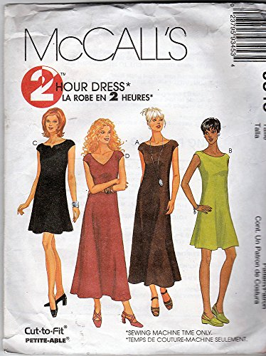 Mccalls 9345 Sewing Pattern Foreasy to Sew Dress Options with Extended-shoulder Cap Sleeve Look, & Back Zipper with Neckline and Length Variations in Misses 10-12-14
