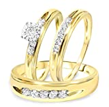 Smjewels Men's & Women's 1/2 CT Diamond Trio Wedding Ring Set 14k Yellow Gold .925 Silver