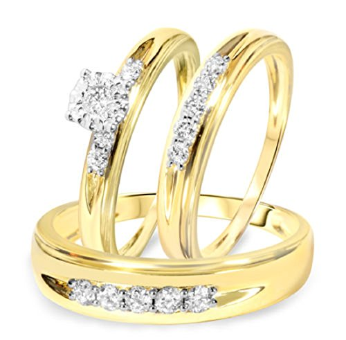Smjewels Men's & Women's 1/2 CT Diamond Trio Wedding Ring Set 14k Yellow Gold .925 Silver by Smjewels