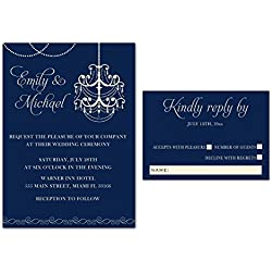 100 Wedding Invitations Gothic Chandelier Navy Blue Elegant Design + Envelopes + Response Cards Set