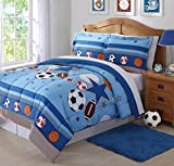 2 Piece Vibrant Sports Athletic Design Comforter Set Twin Size, Featuring Basketballs Soccer Bowling Footballs Pattern Bedding, Playful Boys Kids Game Bedroom Decoration, Blue, White, Multicolor