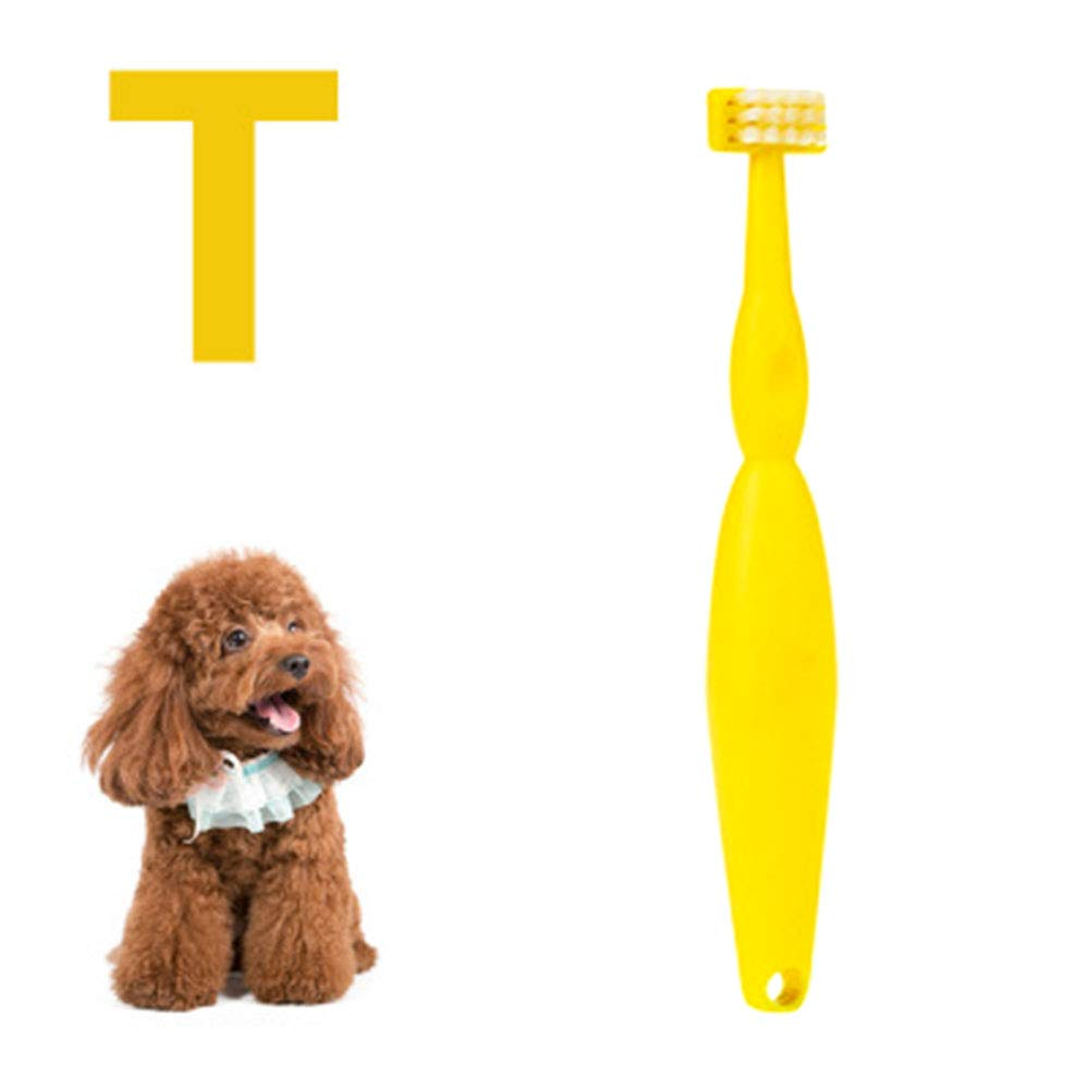 Cat Dog T Type Toothbrush Pets Cleaning Mouth Teeth Care Grooming Tools Bad Breath Tartar Teeth Tool Suitable for Small Animal Dental Care Products,Yellow by Cacoffay