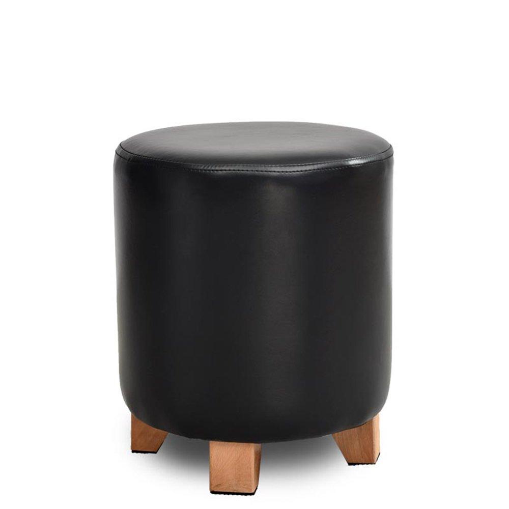 Stool - solid wood leather stool/sofa stool/personalized stool/stool/fashion dressing stool/creative shoe stool/shoe bench (four colors optional) (Color : Black, Size : 2935cm)