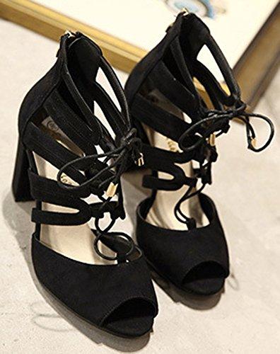 Lady Talon Souple Toe Femme Bloc Aisun Peep Lacets Classique F vAYw8R