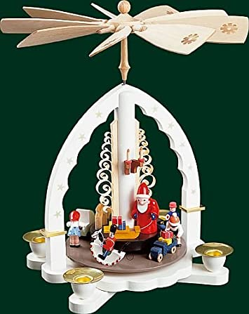Pinnacle Peak Trading Company Toyland Santa White German Christmas Pyramid Handcrafted in Germany New Carousel