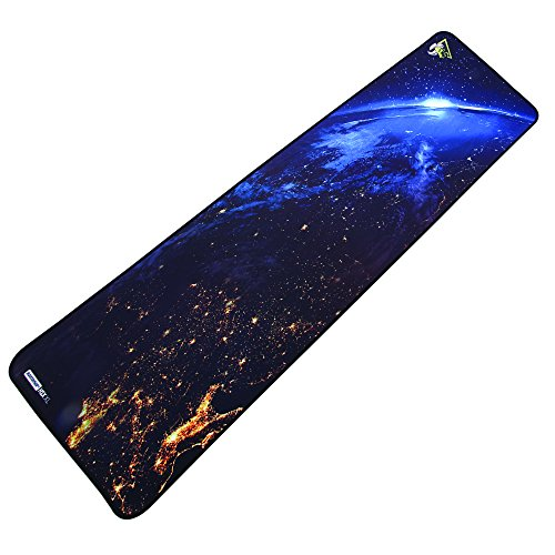 Rantopad H1X Nebula Silky Cloth Extended Gaming Mouse Pad & Keyboard Pad with Stitched Edges, Rubber Base, 35.5x13x0.15 inches (XL - Extra Large)