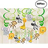 Funkeet Multi-Color Foil Hanging Swirls Decorations, 30 Pcs Ceiling Spiral Streamers Party Supplies for Kid's Birthday Graduation Baby Shower Decor (Jungle Animals)
